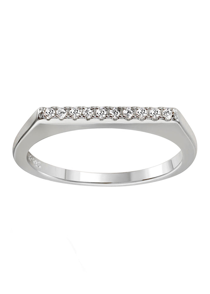 Dainty CZ Crystal Sterling Silver Bar Stackable Ring