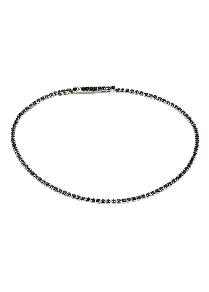 Crystal Sterling Silver Tennis Bracelet - Black CZ