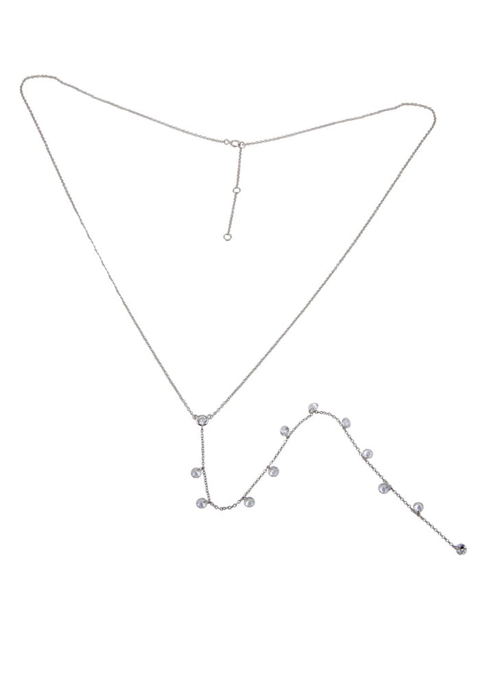 Sterling Silver Crystal Y Drop Necklace