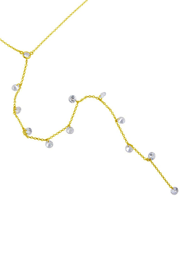 Sterling Silver Crystal Y Drop Necklace - Gold