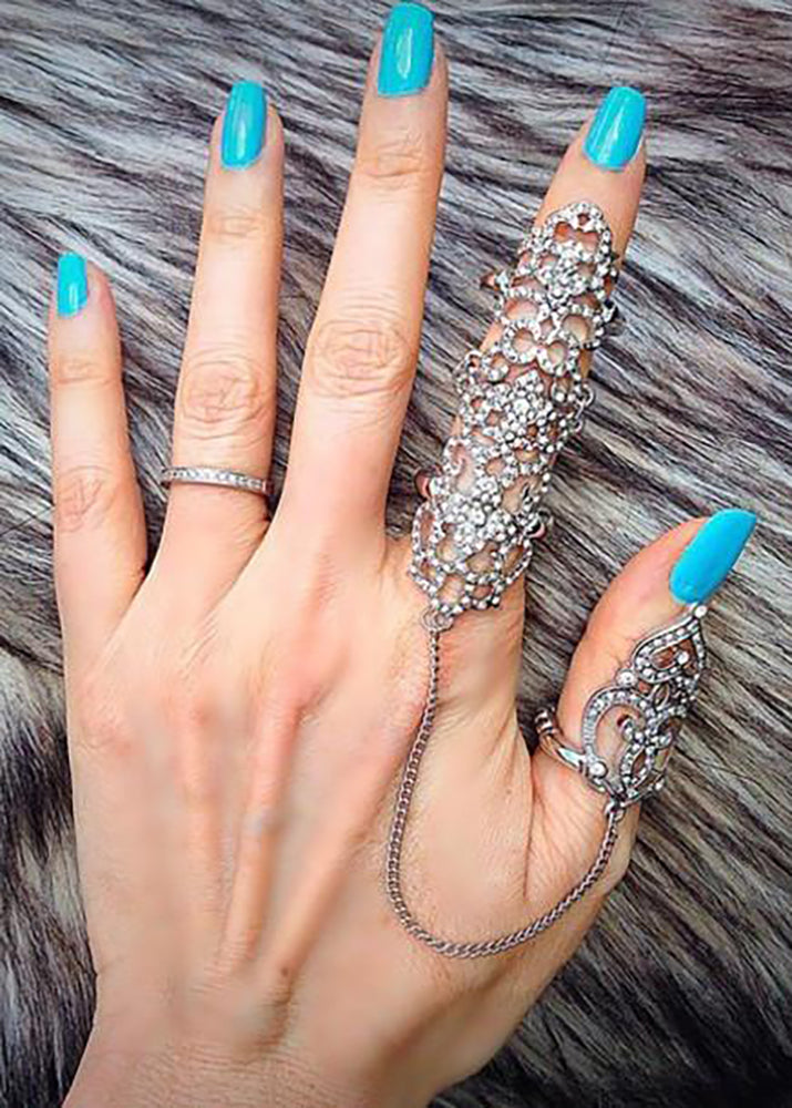 Elegant Cutout Chain Linked Full Finger Knuckle Ring