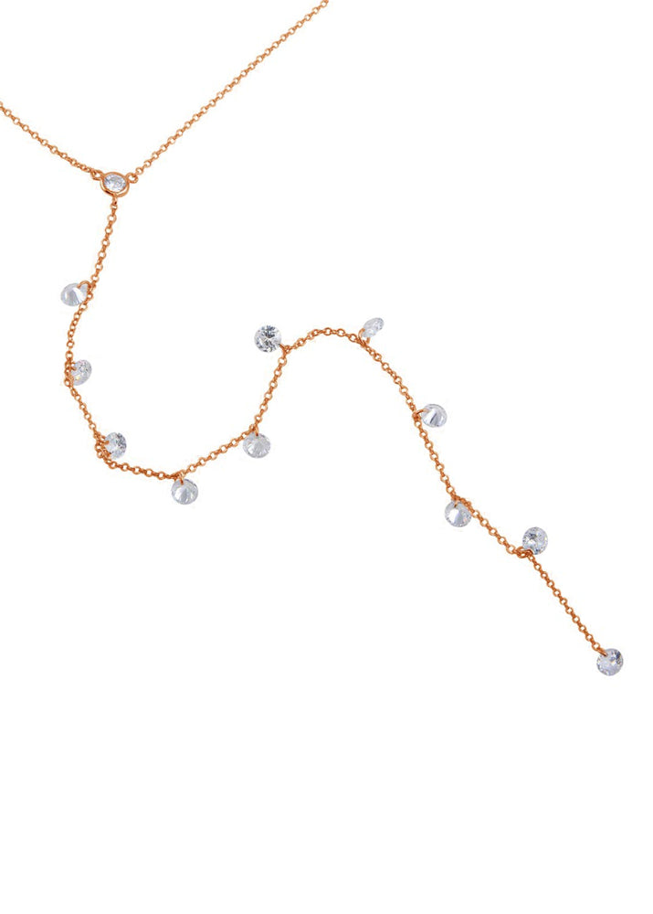 Sterling Silver Crystal Y Drop Necklace - Rose Gold