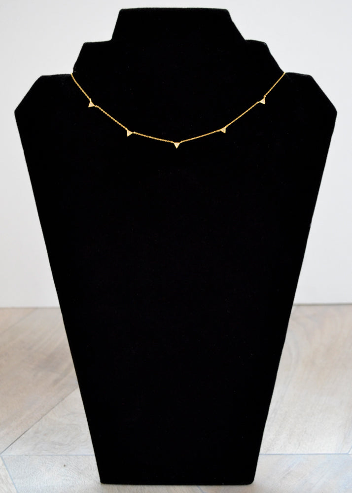 Dainty Crystal Triangle Necklace Gold