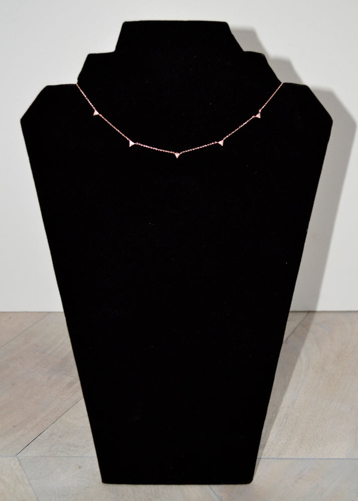 Dainty Crystal Triangle Necklace Rose Gold