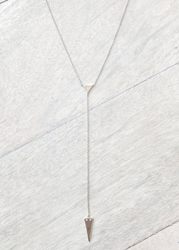 Dainty Double Triangle Lariat Y Necklace - Silver