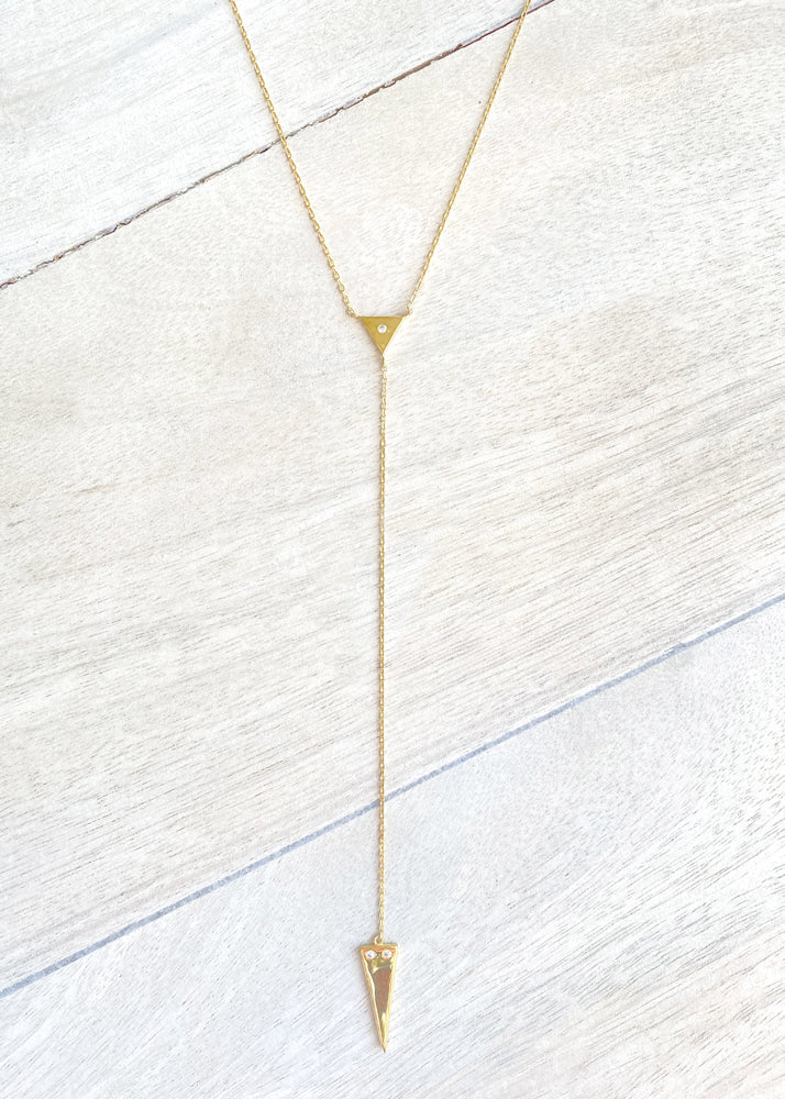 Dainty Double Triangle Lariat Y Necklace - Gold