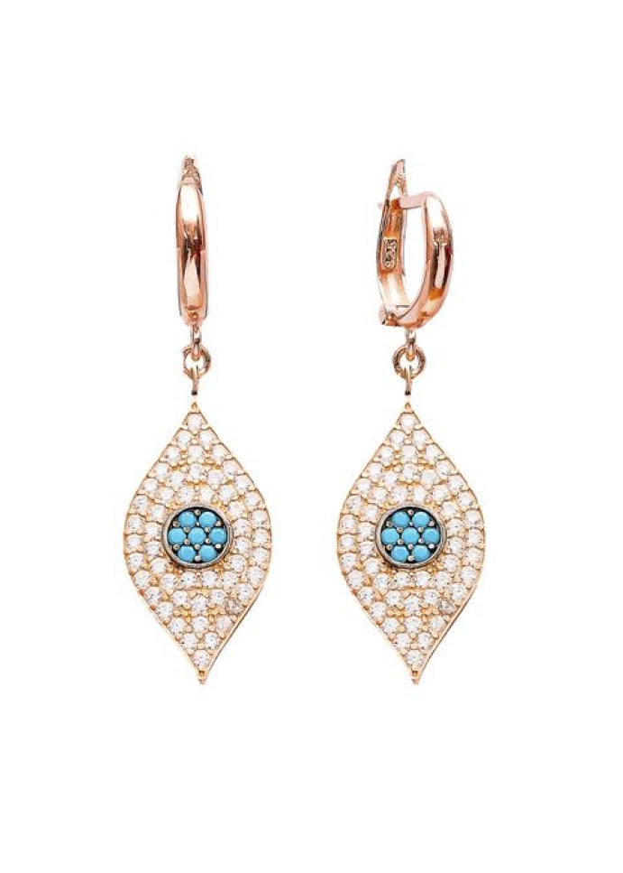 Crystal Evil Eye Huggie Drop Earrings - Clear Crystal