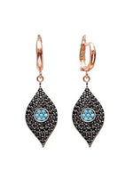 Crystal Evil Eye Huggie Drop Earrings - Black Crystal