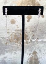 Delicate Crystal Drop Sterling Silver Earrings