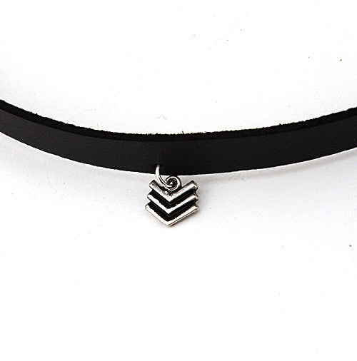 Chevron Pendant Choker Necklace