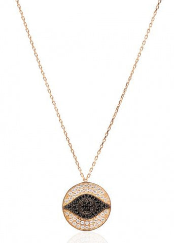 Shay Black Crystal Medallion Necklace