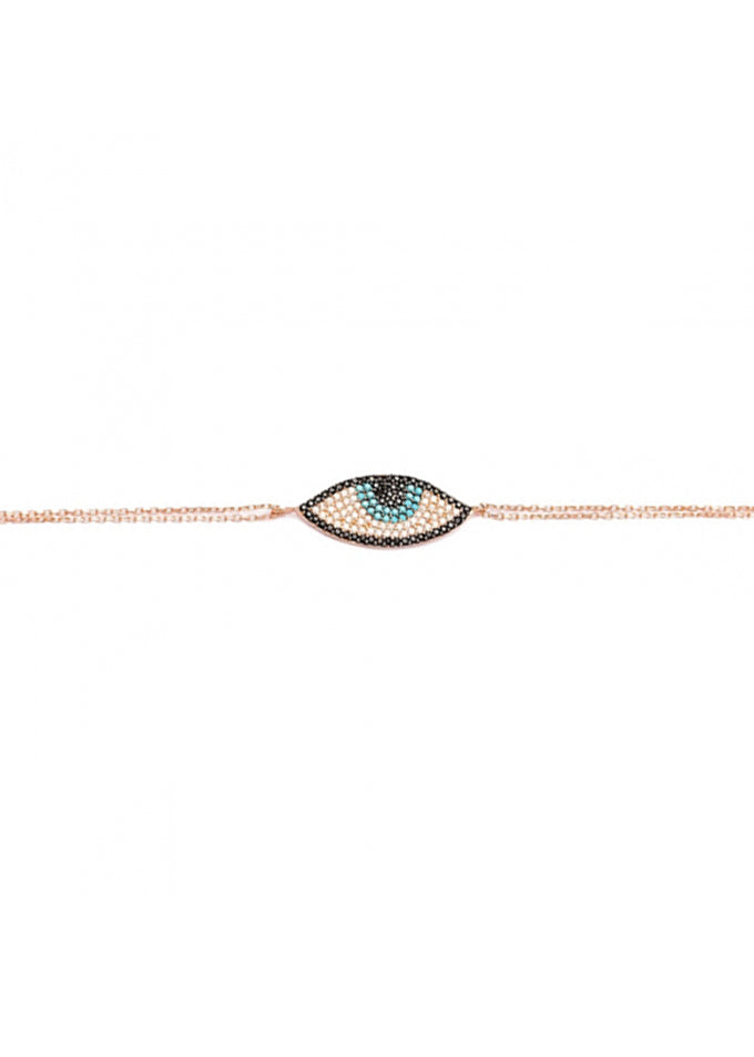 Eye Believe Crystal Double Strand Rose Gold Bracelet