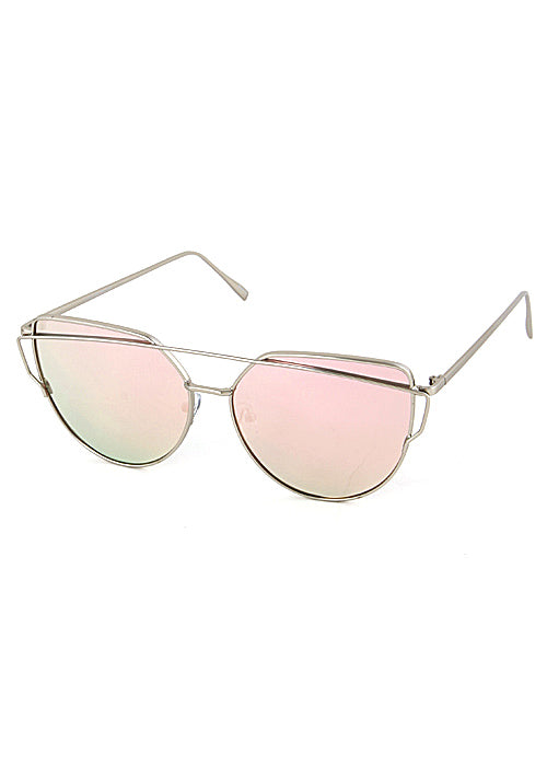 The One Mirrored Cateye Aviator Sunglasses - Silver Pink