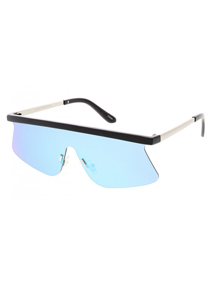 Flash Future Mirrored Sunglasses - Blue Mirrored Lens