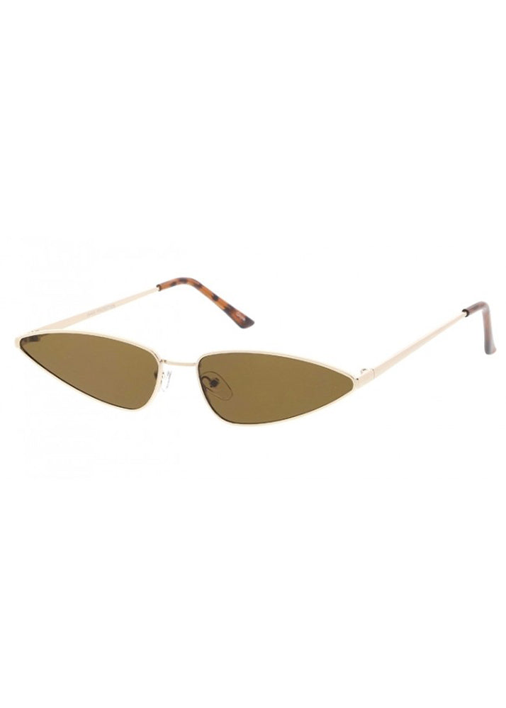 Slim Metal Cateye Frames - Gold/Brown