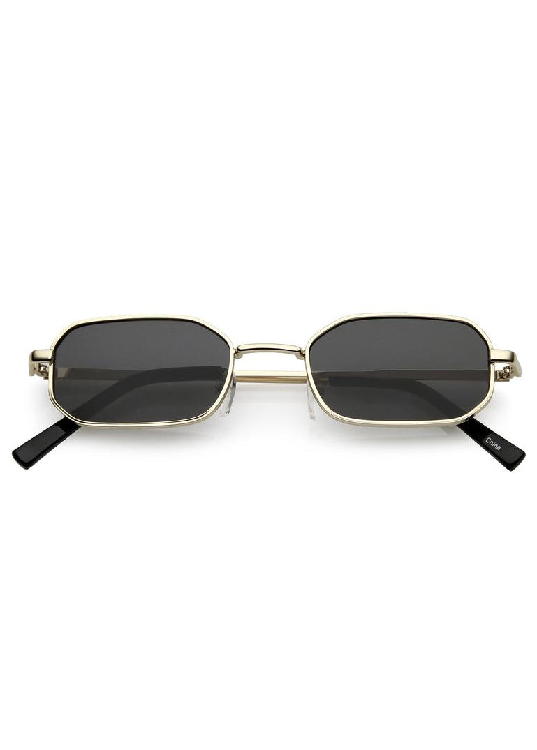Tiny Rectangle Sunglasses - Gold / Black Lens