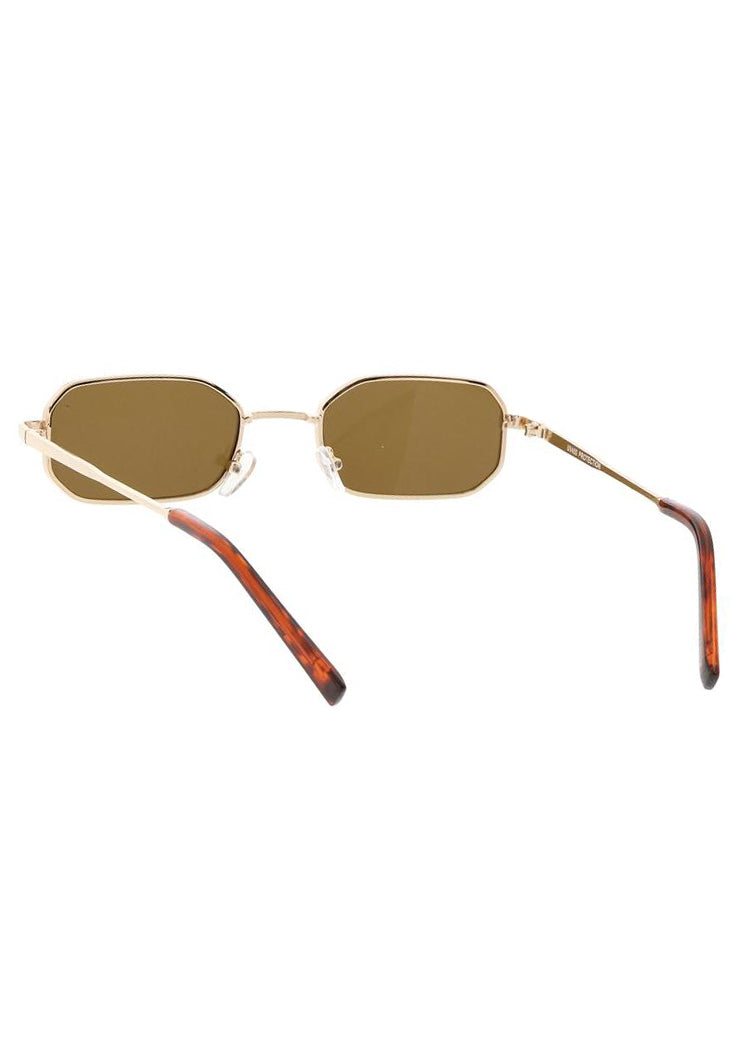 Tiny Rectangle Sunglasses - Gold / Brown Lens
