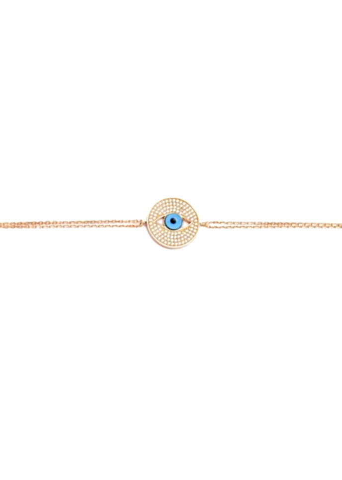Eyes Open Crystal Double Strand Gold Bracelet