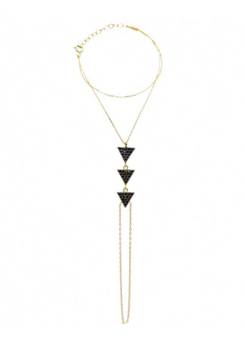 Crystal Triangle Hand Chain Sterling Silver Gold Vermeil
