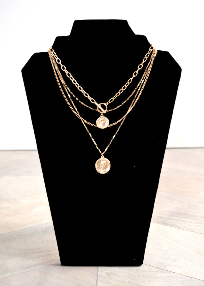 Layered Greek Gold Coin Necklace
