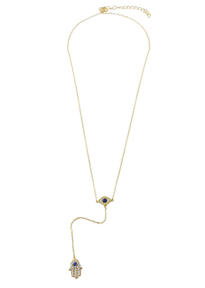 Crystal Hamsa Evil Eye Lariat Y Drop Necklace