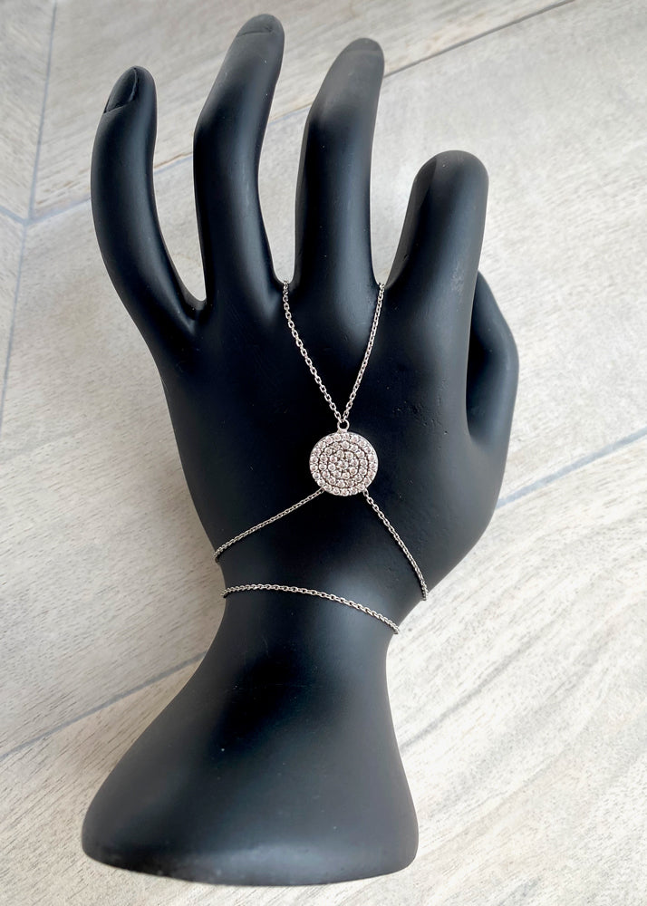 Sterling Silver Crystal Medallion Hand Chain