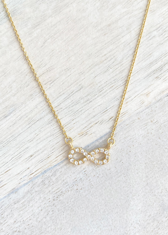 Dainty Crystal Infinity Necklace