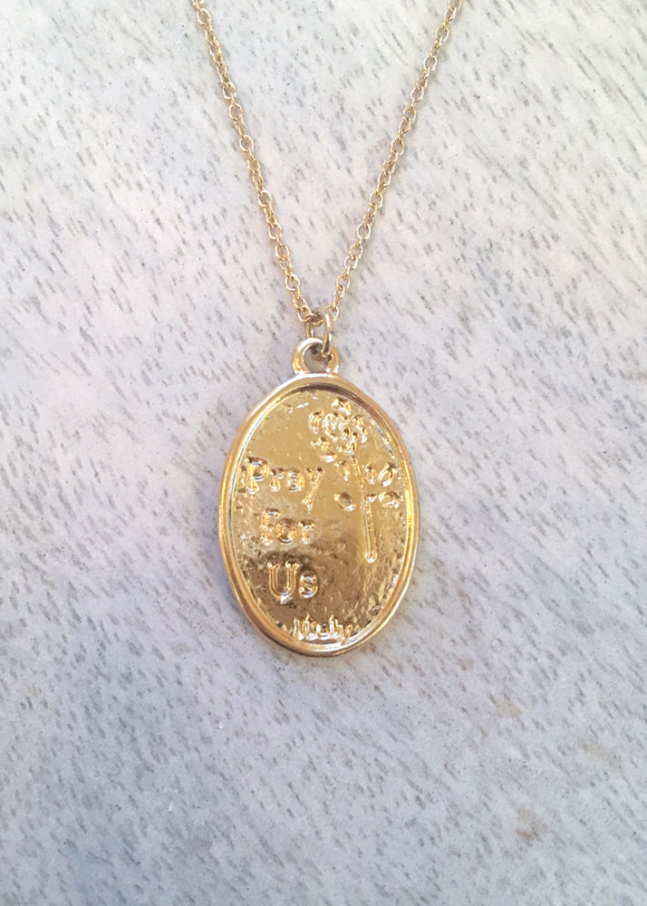 St. Joan Of Arc 14k Gold Dipped Necklace