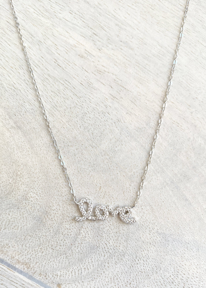 Crystal Sterling Silver Love Script Necklace - Silver