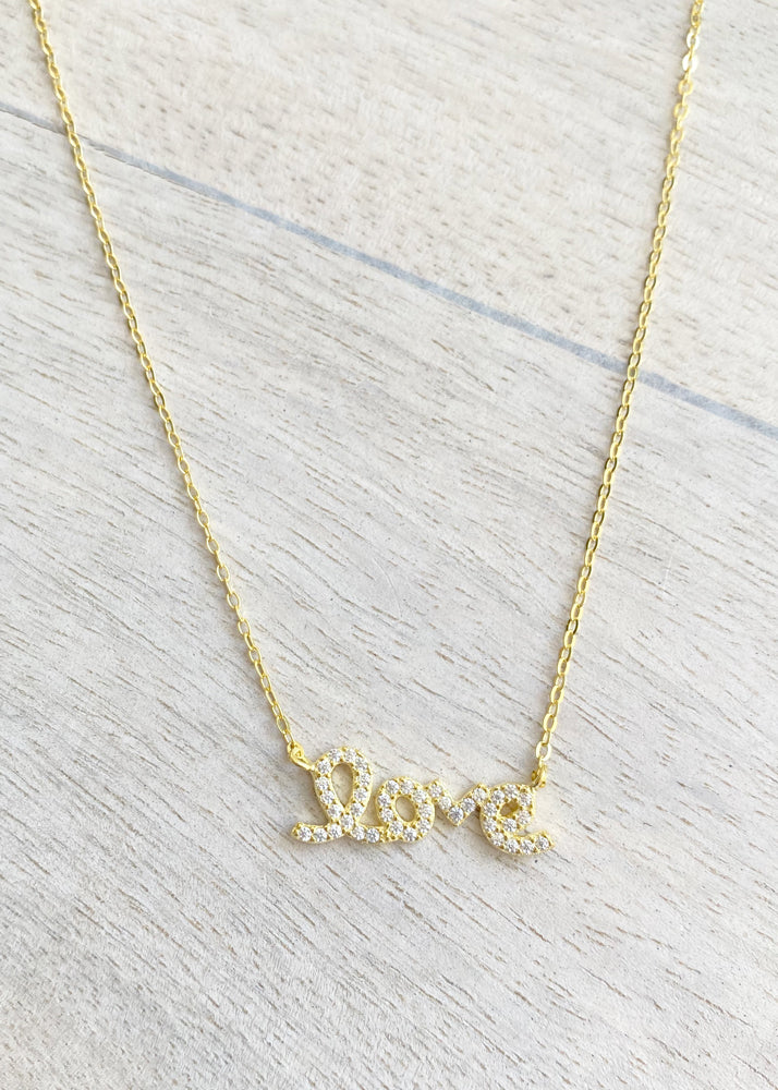 Crystal Sterling Silver Love Script Necklace - Gold