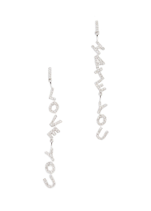 I Love You I Hate You Earrings Silver