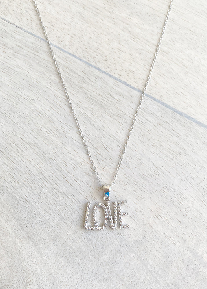 All You Need Is Love Sterling Silver Crystal Necklace