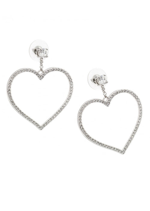 Love Me Crystal Heart Sterling Silver Drop Earrings
