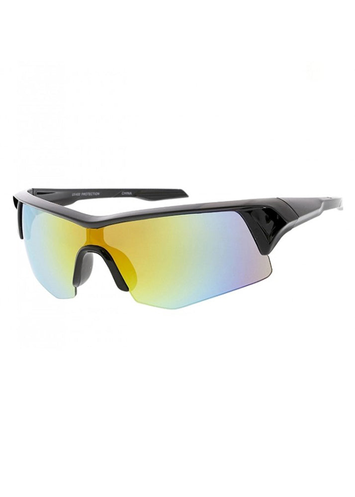 Moto Sport Wrap Mirrored Sunglasses - Black / Yellow Orange