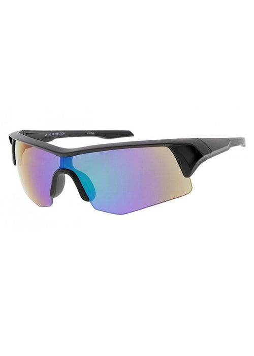 Moto Sport Wrap Mirrored Sunglasses - Black / Blue