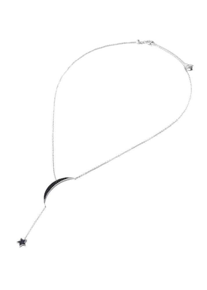 Celestial Black Crystal Adjustable Lariat Necklace