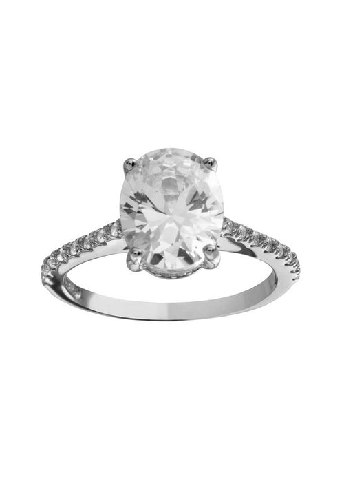 Oval Solitaire CZ Sterling Silver Ring