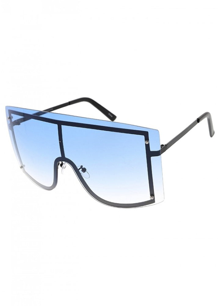 Shield Me Oversized Sunglasses - Blue