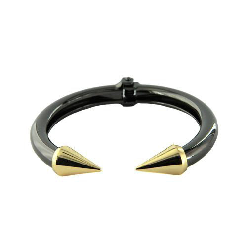 Gunmetal & Gold Two Tone Spike Tip Bracelet