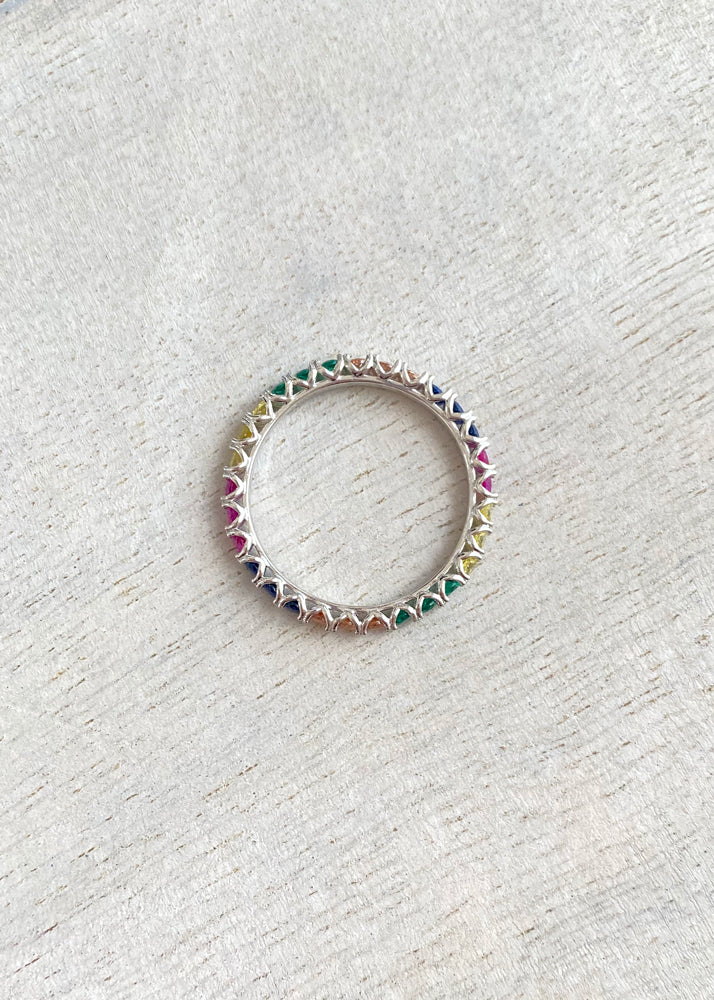 Rainbow Crystal Sterling Silver Band Ring