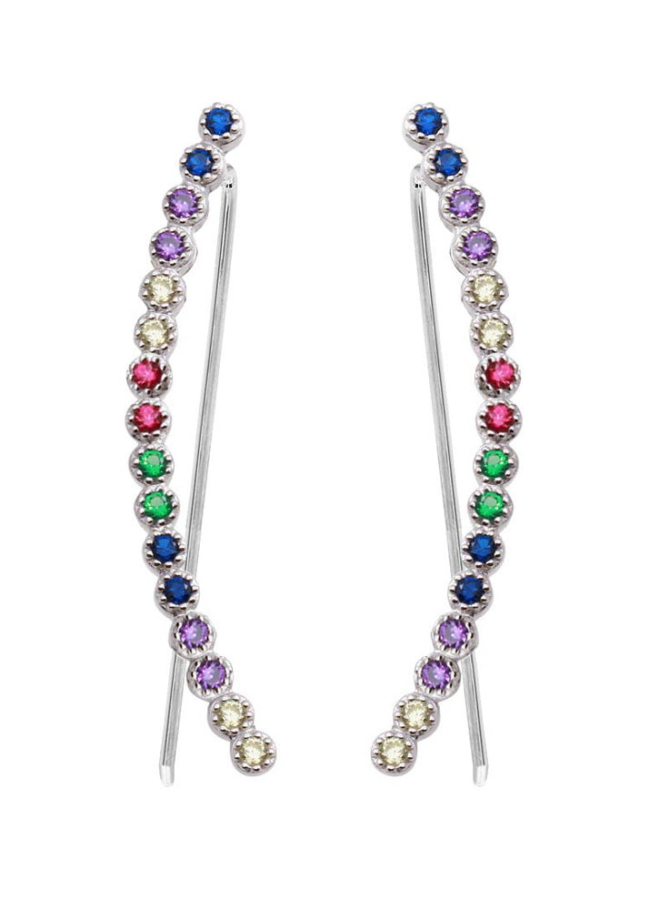 Crystal Rainbow Ear Climber Earrings