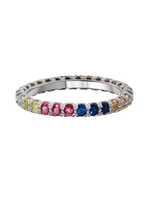 Rainbow Crystal Band Ring