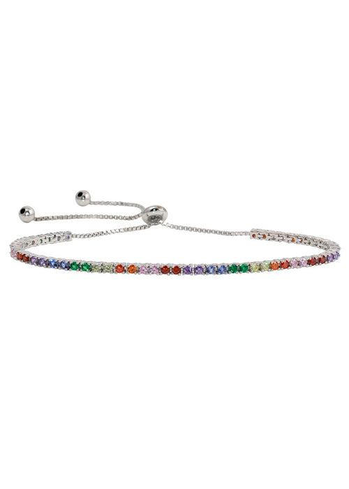 Over The Rainbow Sterling Silver Crystal Pull Bracelet
