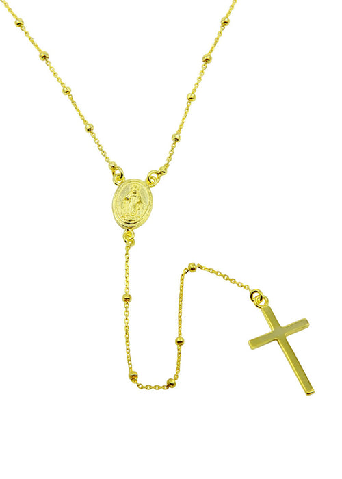 Beaded Rosary Necklace Gold Vermeil