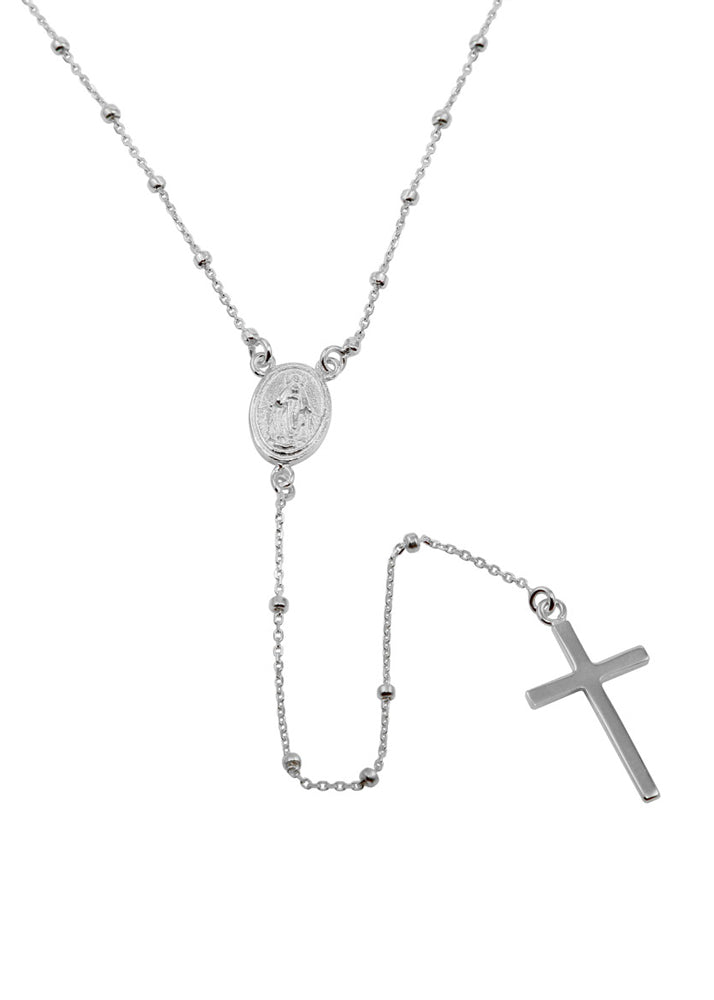 Beaded Rosary Necklace Sterling Silver