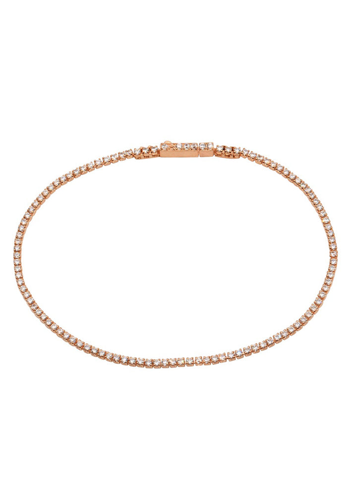 Kimmie Dainty Sterling Silver Tennis Bracelet - Rose Gold
