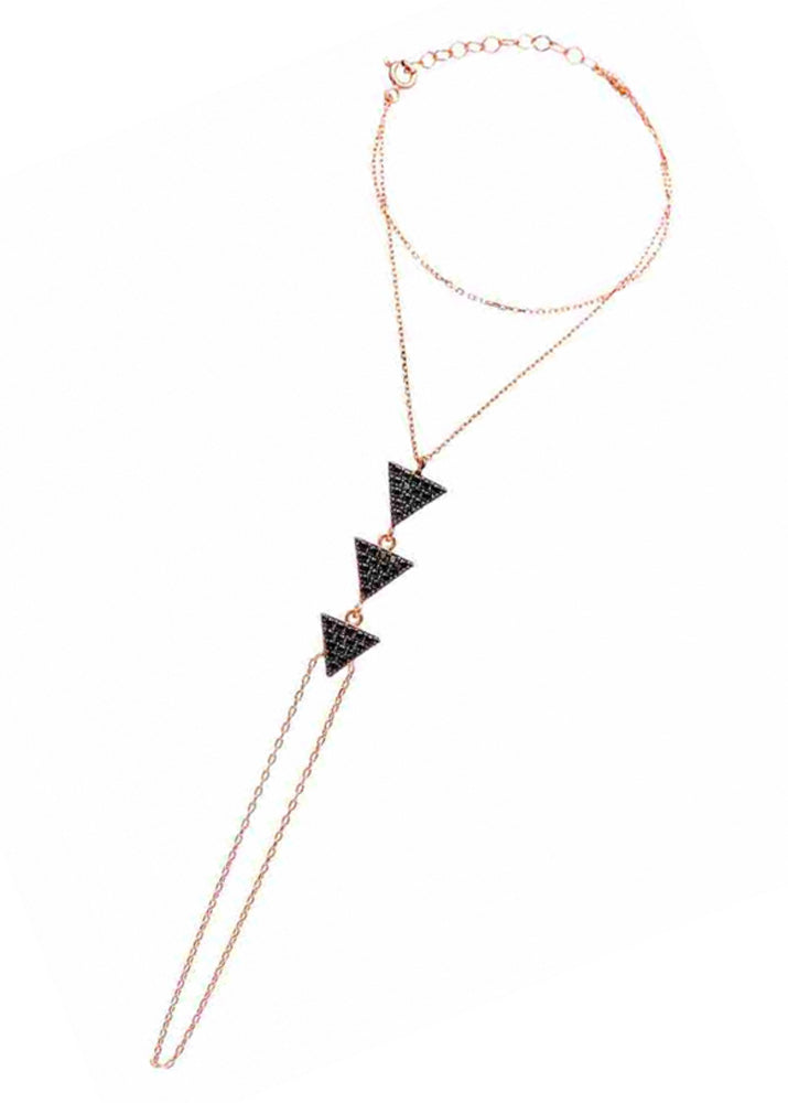 Crystal Triangle Hand Chain Rose Gold Plated Sterling Silver