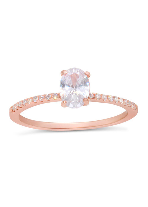Rose Gold Sterling Silver CZ Oval Ring