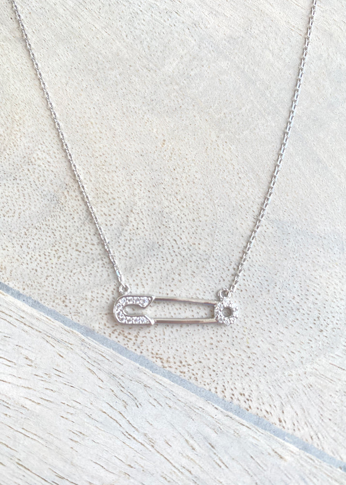 Dainty Safety Pin Sterling Silver Necklace
