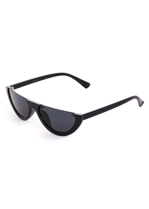 Semi Rimless Flat Top Sunglasses Black